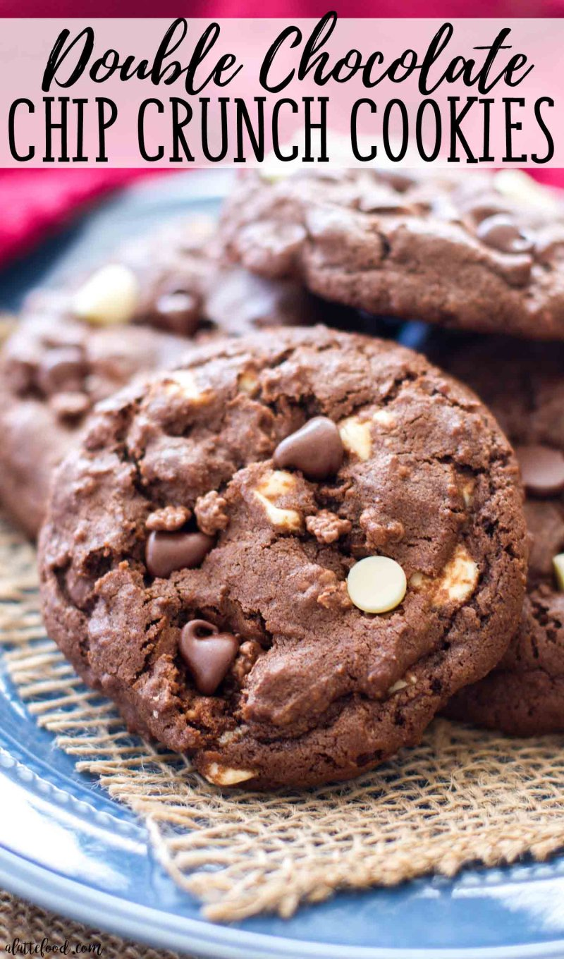 Double Chocolate Chip Crunch Cookies are perfectly rich and fudgy!