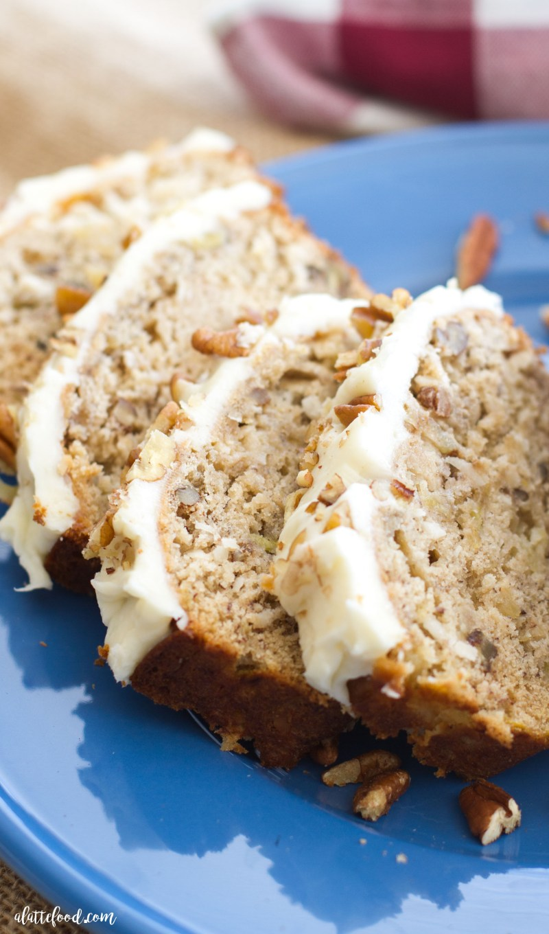 Hummingbird bread with cream cheese frosting a latte food this easy hummingbird bread recipe is full of the flavors of the classic southern cake forumfinder Image collections