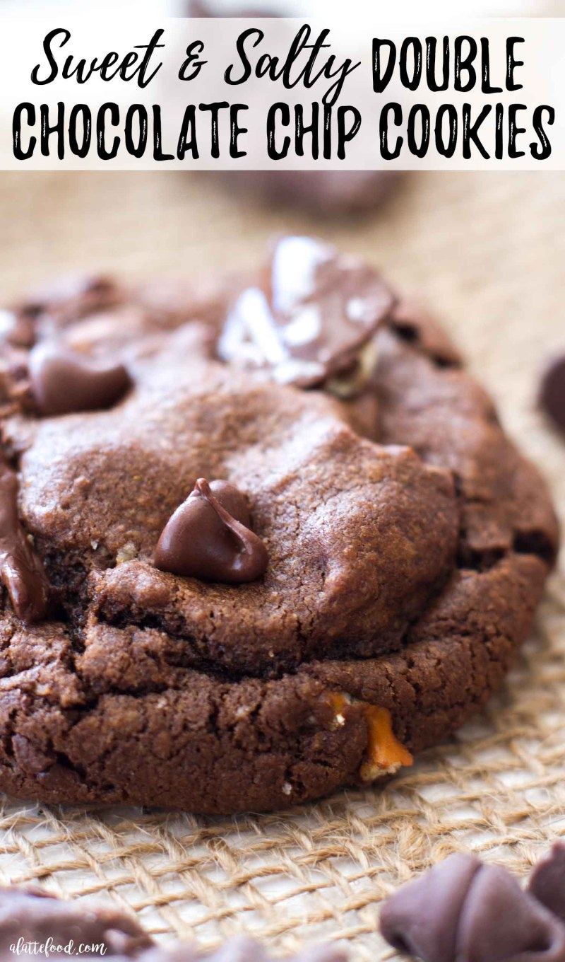 These Double Chocolate Chip Cookies with potato chips and pretzels are irresistible!