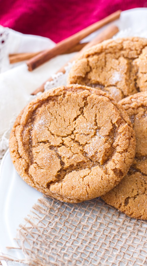 These chewy molasses sugar cookies are one of my favorite Christmas cookie recipes! They are rich, chewy, and have just a hint of spice to make them perfect for the holidays!