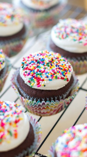 These rich, homemade chocolate cupcakes are topped with sweet, homemade vanilla frosting and brightly colored sprinkles!