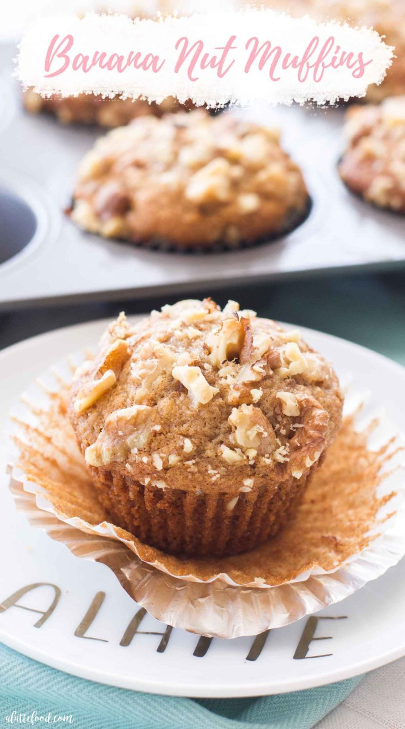Banana Nut Muffin on white plate with text