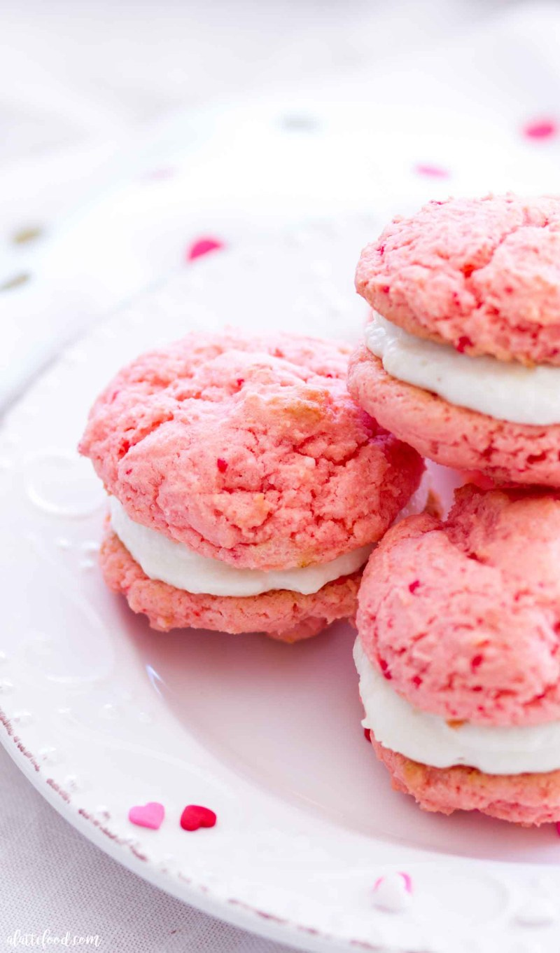 strawberry cake mix cookies on white plate