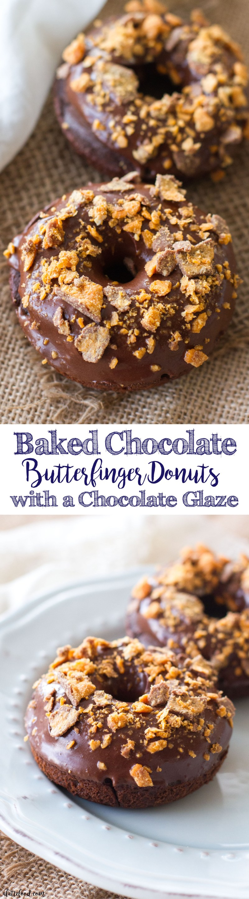 These simple baked chocolate donuts are topped with a rich chocolate glaze and crumbled butterfingers! These chocolate donuts are rich, sweet, and perfectly decadent! Technically, since this is a donuts, it can be considered breakfast food, right? 😉 I promise I won't tell!