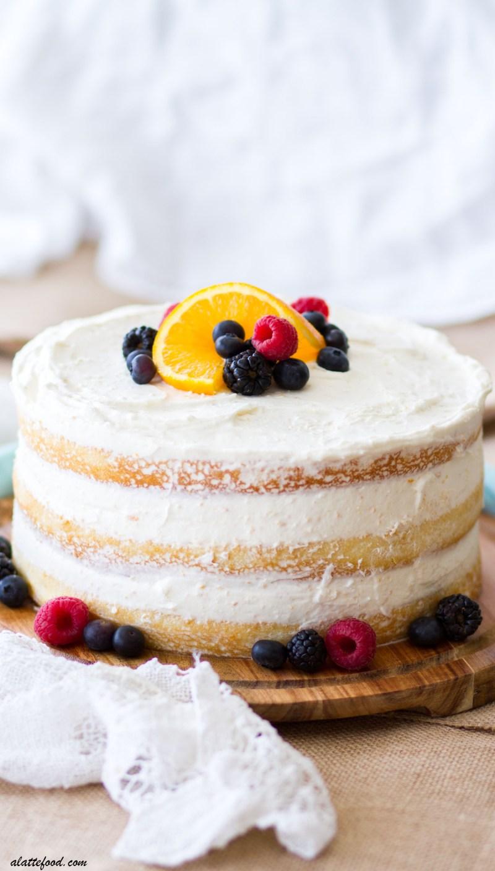 Mixed Berry Orange Naked Cake A Latte Food