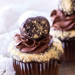 Chocolate S'mores Cupcakes with Whipped Ganache Frosting (Video)