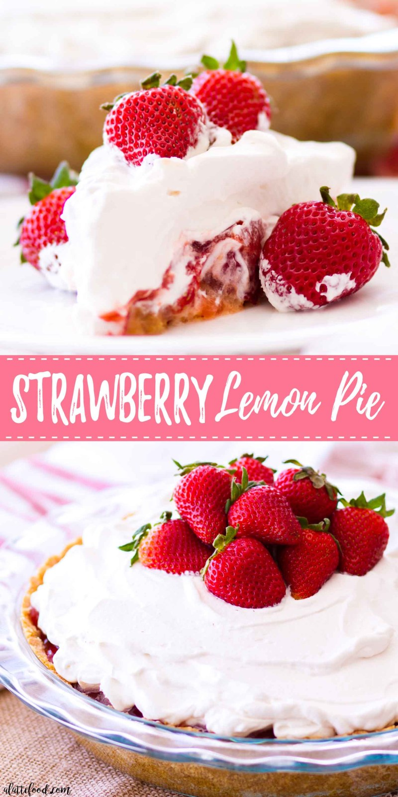 This Strawberry Lemon Pie is made with fresh strawberries, lemon curd, and a sweet homemade graham cracker crust! This strawberry pie recipe is super simple to make, sweet and tangy, and the perfect summer dessert! Plus, it's topped with a homemade whipped cream that's to die for!  easy strawberry pie recipe, no bake strawberry pie recipe