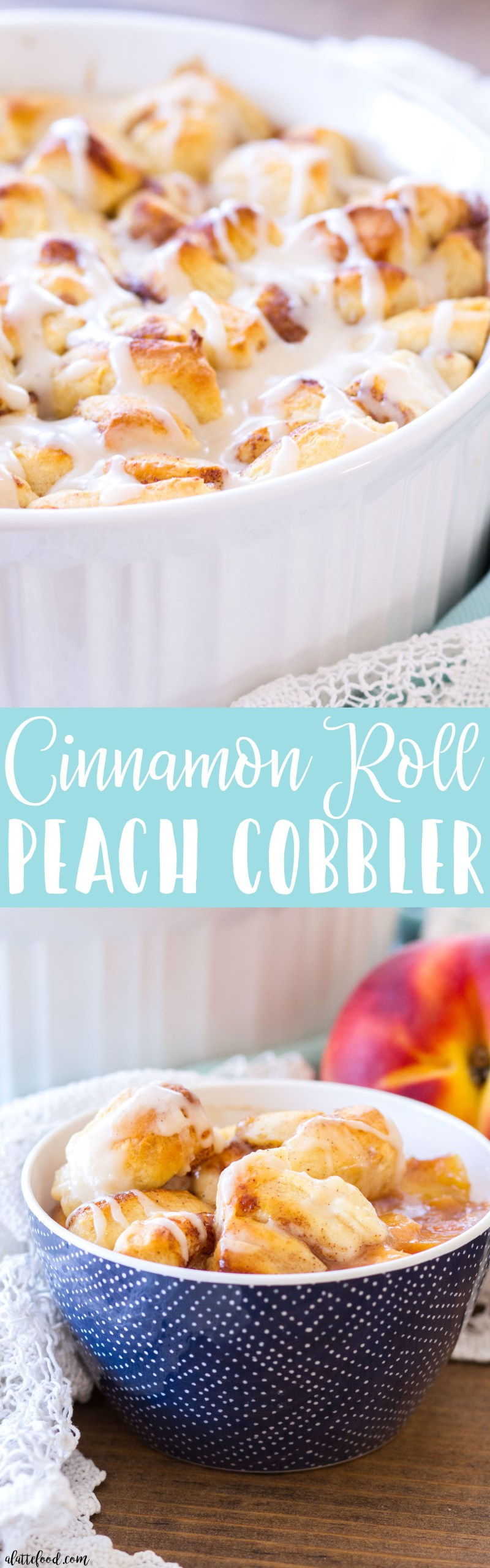 This Easy Cinnamon Roll Peach Cobbler is made with fresh peaches, rich spices, and pre-made cinnamon roll dough! This peach cobbler recipe is topped with a homemade vanilla glaze, making this a super quick and easy summer dessert!