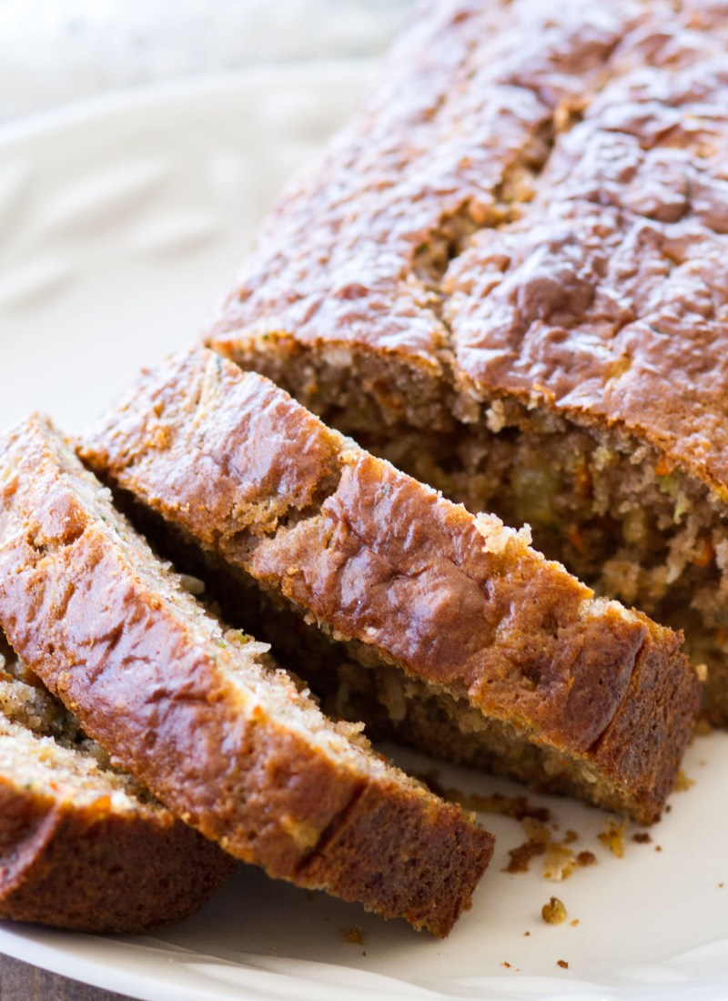 Pineapple Carrot Zucchini Bread + Video