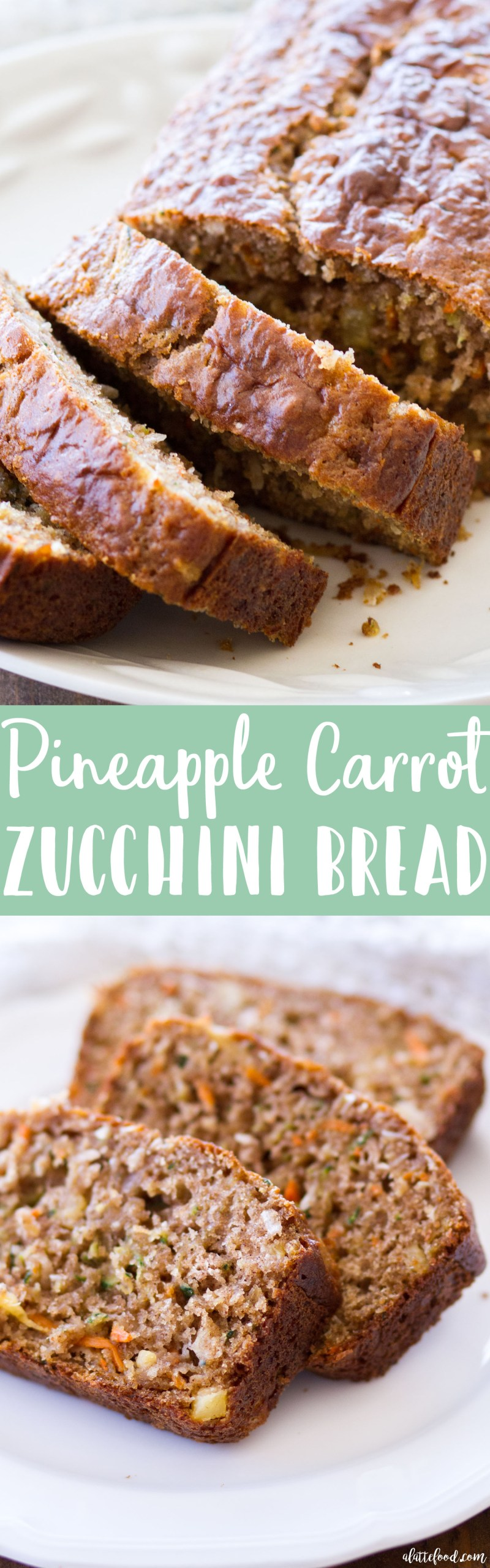 This homemade zucchini bread recipe is filled with shredded carrots, sweet pineapple, and coconut! Pineapple Carrot Zucchini Bread is spiced with ginger and cinnamon, and the perfect quick bread for breakfast, brunch, or an after school snack! Plus, a video below! homemade zucchini bread, what to do with zucchini