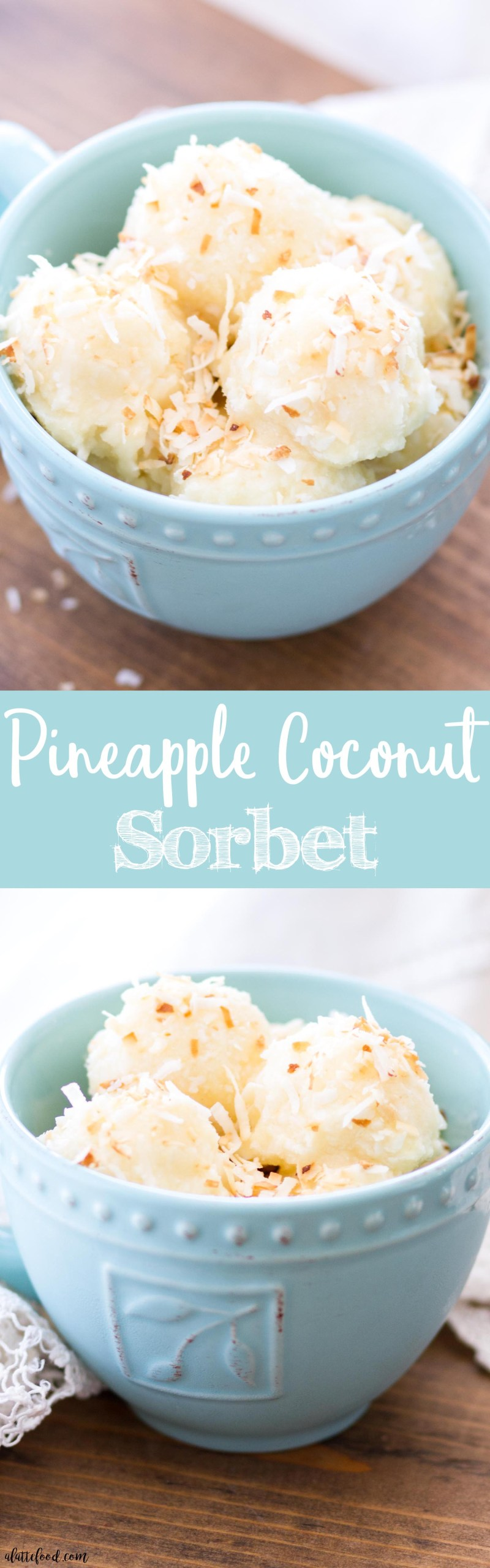 This homemade pineapple coconut sorbet is made with only 6-ingredients and is refined sugar-free and dairy-free! This easy frozen dessert is easy to make, full of flavor, and totally dreamy! how to make sorbet, homemade sorbet recipe