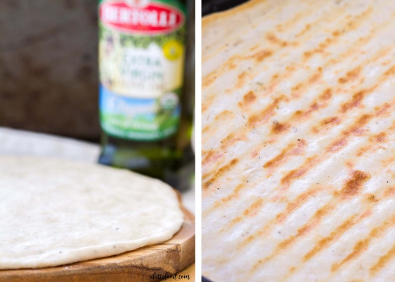 This homemade Barbecue Chicken Flatbread is grilled and made with Bertolli® Organic Extra Virgin Olive Oil, giving this flatbread recipe amazing color and flavor! This is a no-yeast flatbread dough, which makes this Barbecue Chicken Flatbread an easy party appetizer or dinner!