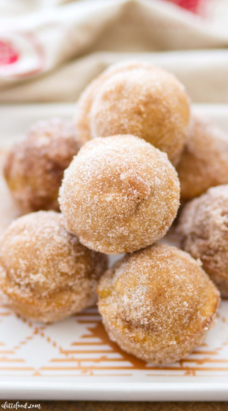 These Baked Pumpkin Donut Holes are full of pumpkin flavor and sweet spices, and rolled in cinnamon sugar! Homemade pumpkin donut holes are such a quick and easy fall dessert, as well as making theperfect breakfast or brunch! homemade pumpkin donuts, pumpkin donut holes, baked donuts