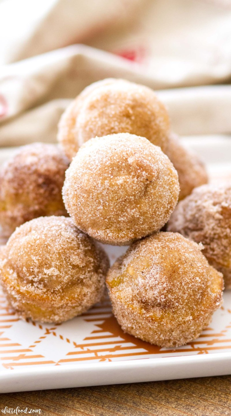 These Baked Pumpkin Donut Holes are full of pumpkin flavor and sweet spices, and rolled in cinnamon sugar! Homemade pumpkin donut holes are such a quick and easy fall dessert, as well as making the perfect breakfast or brunch! homemade pumpkin donuts, pumpkin donut holes, baked donuts