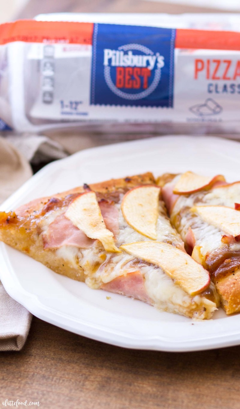 This Apple Butter Ham Pizza is made with Pillsbury's Best Pizza Dough, and is the perfect blend of savory and sweet. The classic combination of apples and cheese give this homemade pizza recipe unique flavor, making it the perfect savory fall dinner recipe!