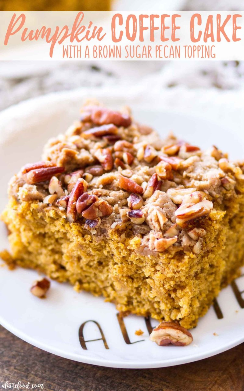 Homemade Pecan Pumpkin Coffee Cake with a Brown Sugar Streusel Recipe