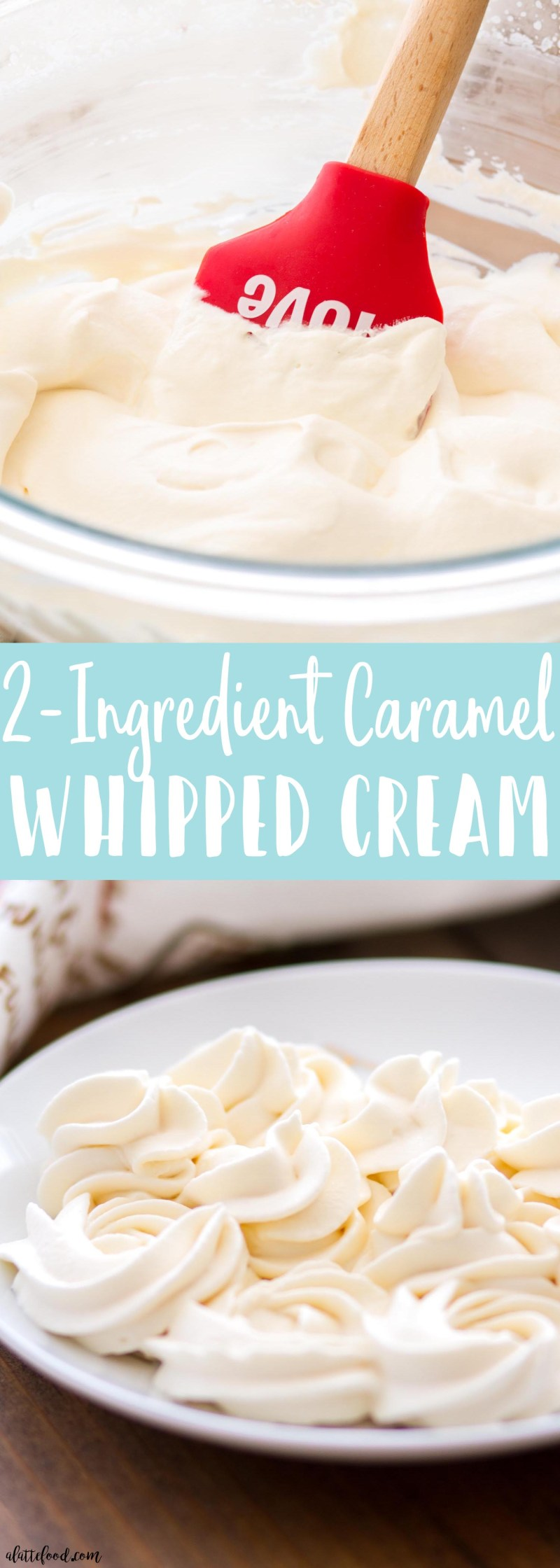 (2-Ingredient) Caramel Whipped Cream -- This homemade whipped cream recipe is only 2-ingredients! Heavy whipping cream and caramel sauce (caramel ice cream sauce) are whipped together until thick and creamy. This Caramel Whipped Cream recipe is perfect on coffee, pie, and any other dessert recipe!