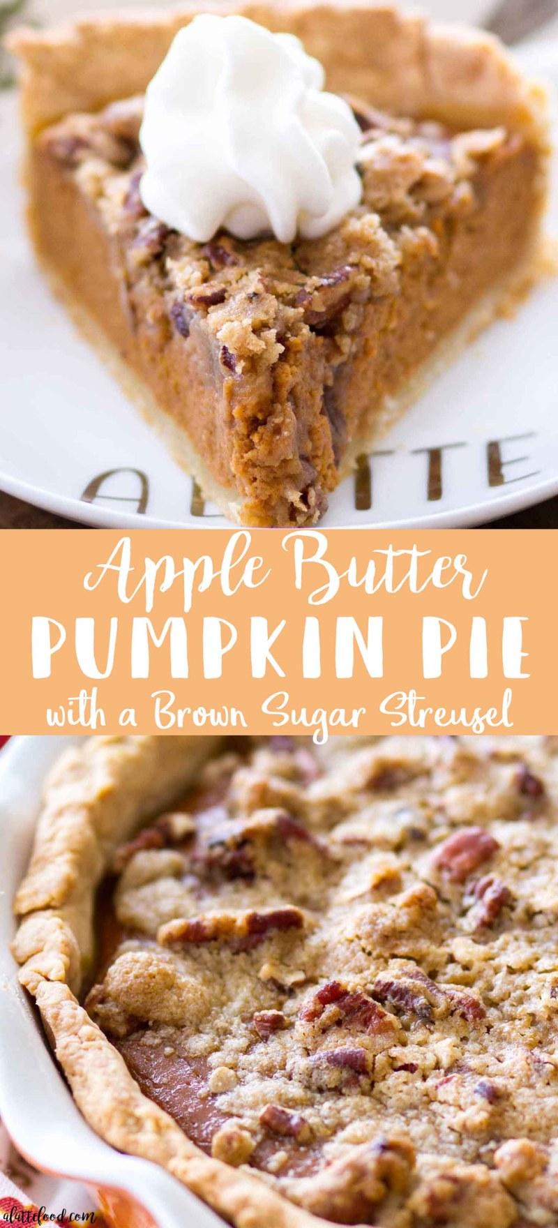 Homemade Apple Butter Pumpkin Pie with a Brown Sugar Streusel Topping (how to make pumpkin pie with a streusel topping)