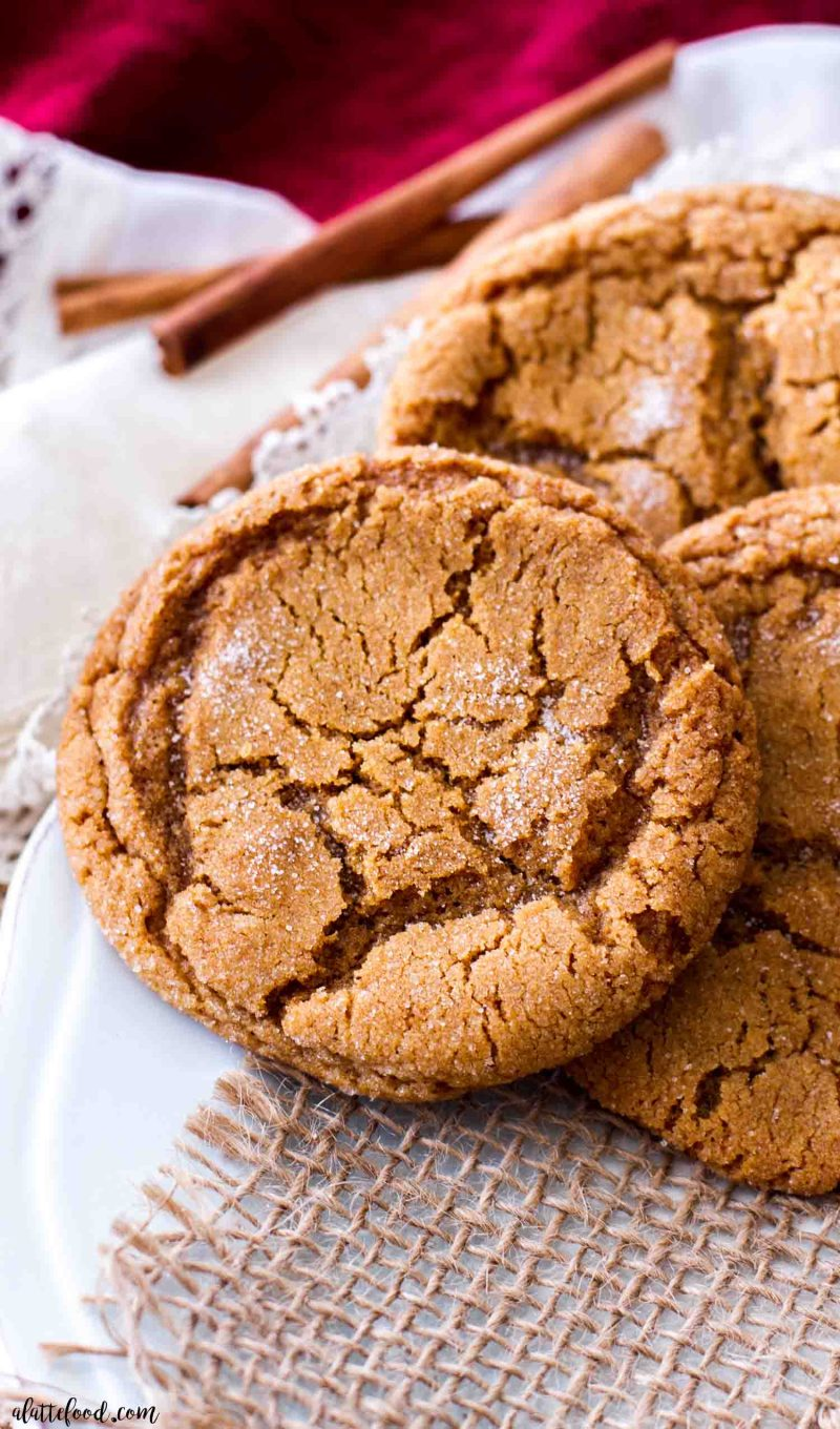 molasses cookies on a blue plate