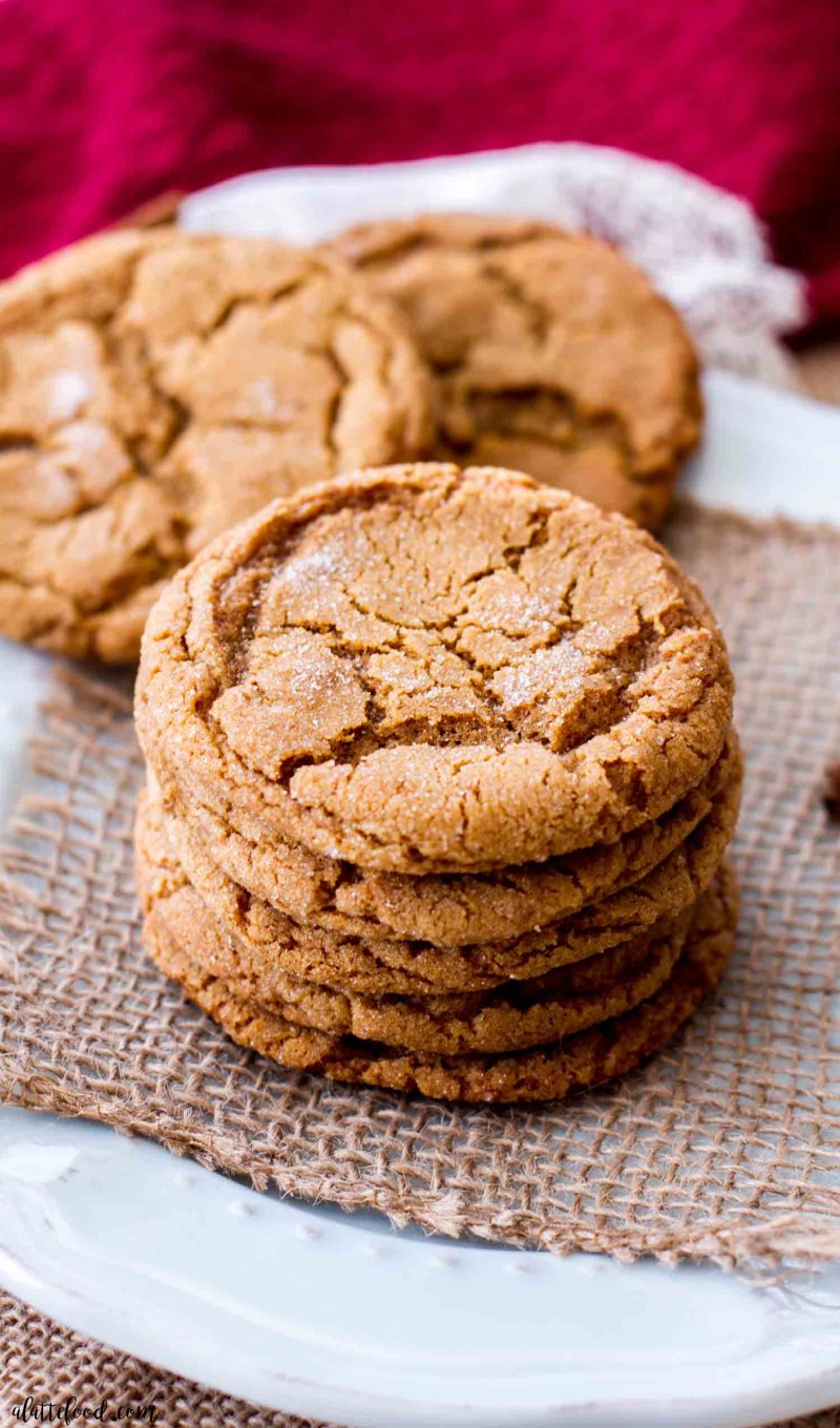 stack of chewy molasses cookies