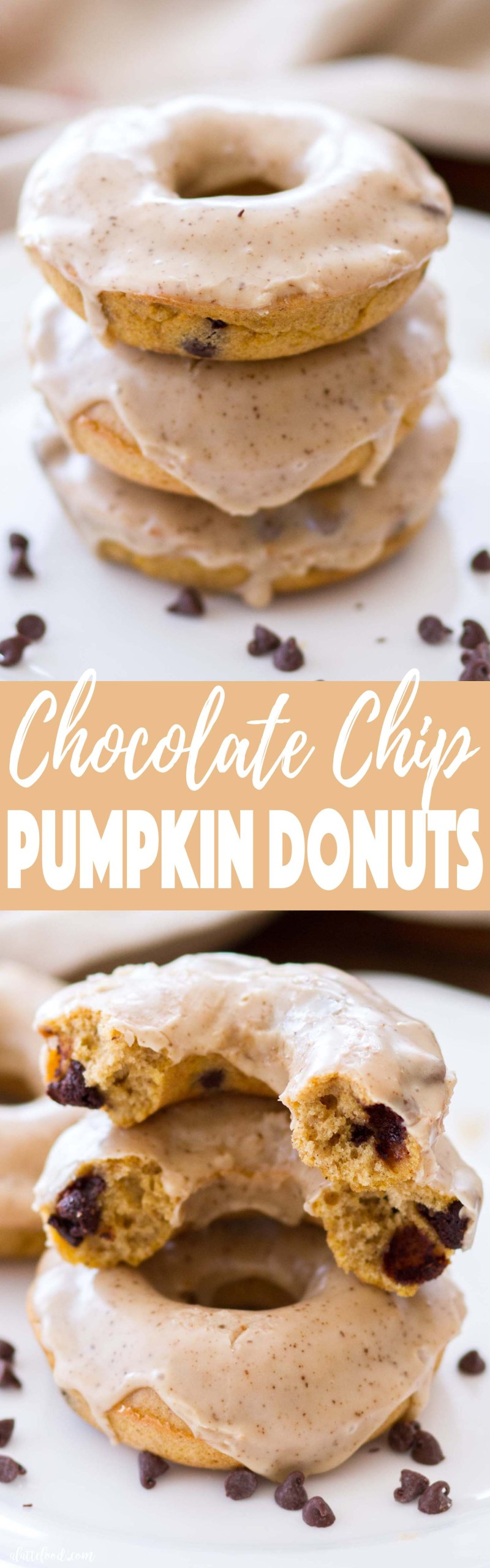 Chocolate Chip Pumpkin Donuts -- These Chocolate Chip Pumpkin Donuts are baked instead of fried! These homemade pumpkin donuts are perfect for a fall breakfast or sweet fall dessert. Plus, this pumpkin donut recipe is so easy! And, it's topped with a sweet Cinnamon Espresso Glaze!