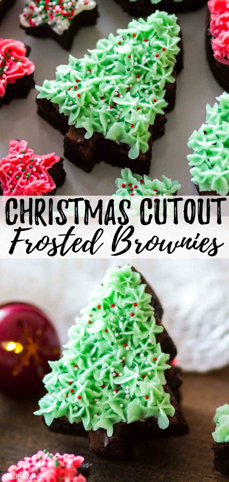 Homemade Cutout Frosted Fudge Brownies are too cute and super easy to make as a last minute Christmas dessert!