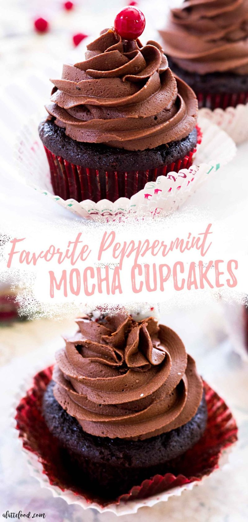 dark chocolate peppermint mocha cupcakes with fudge chocolate frosting collage
