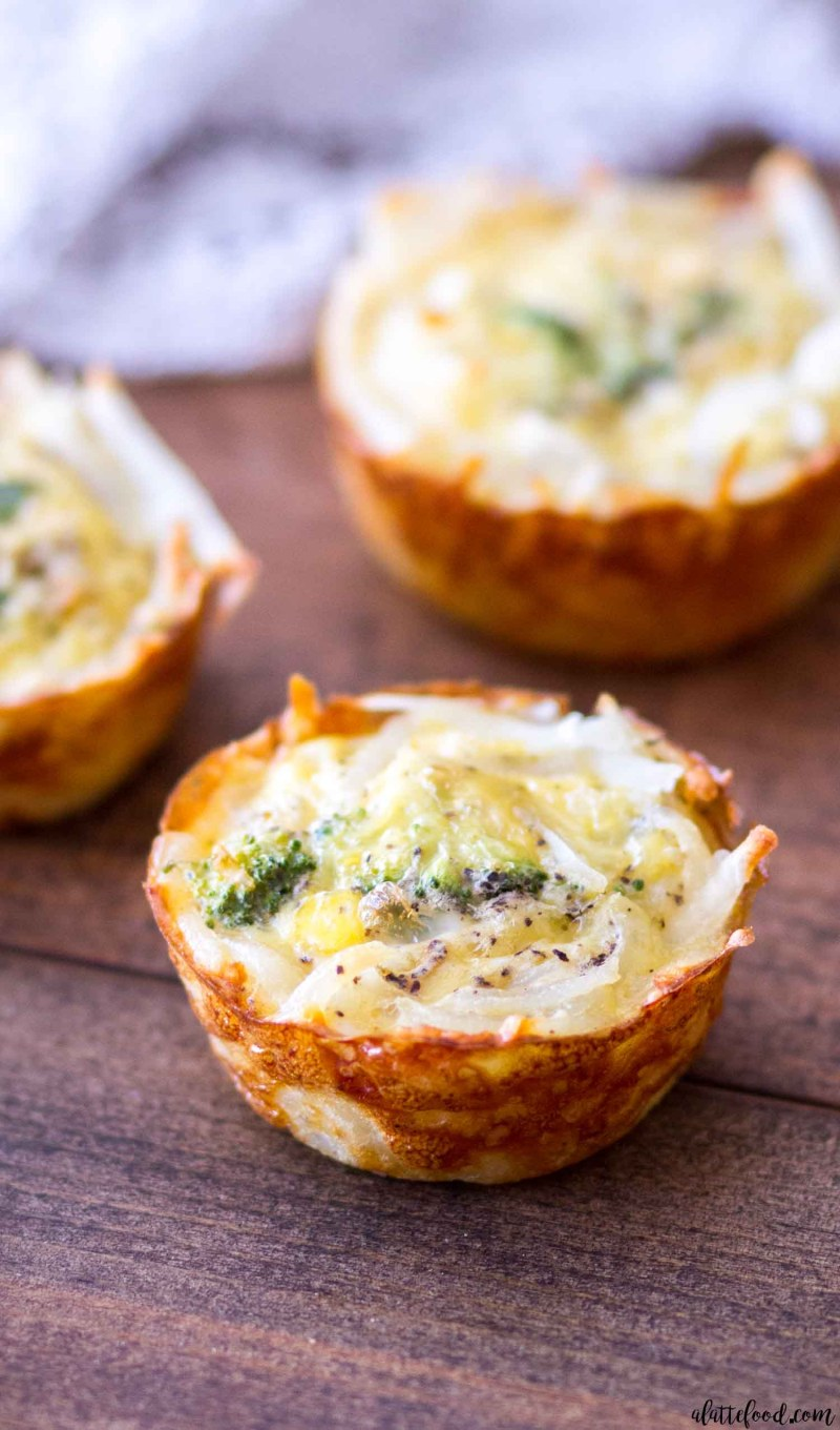 Hash Brown Crusted Broccoli Cheddar Quiche Cups A Latte Food