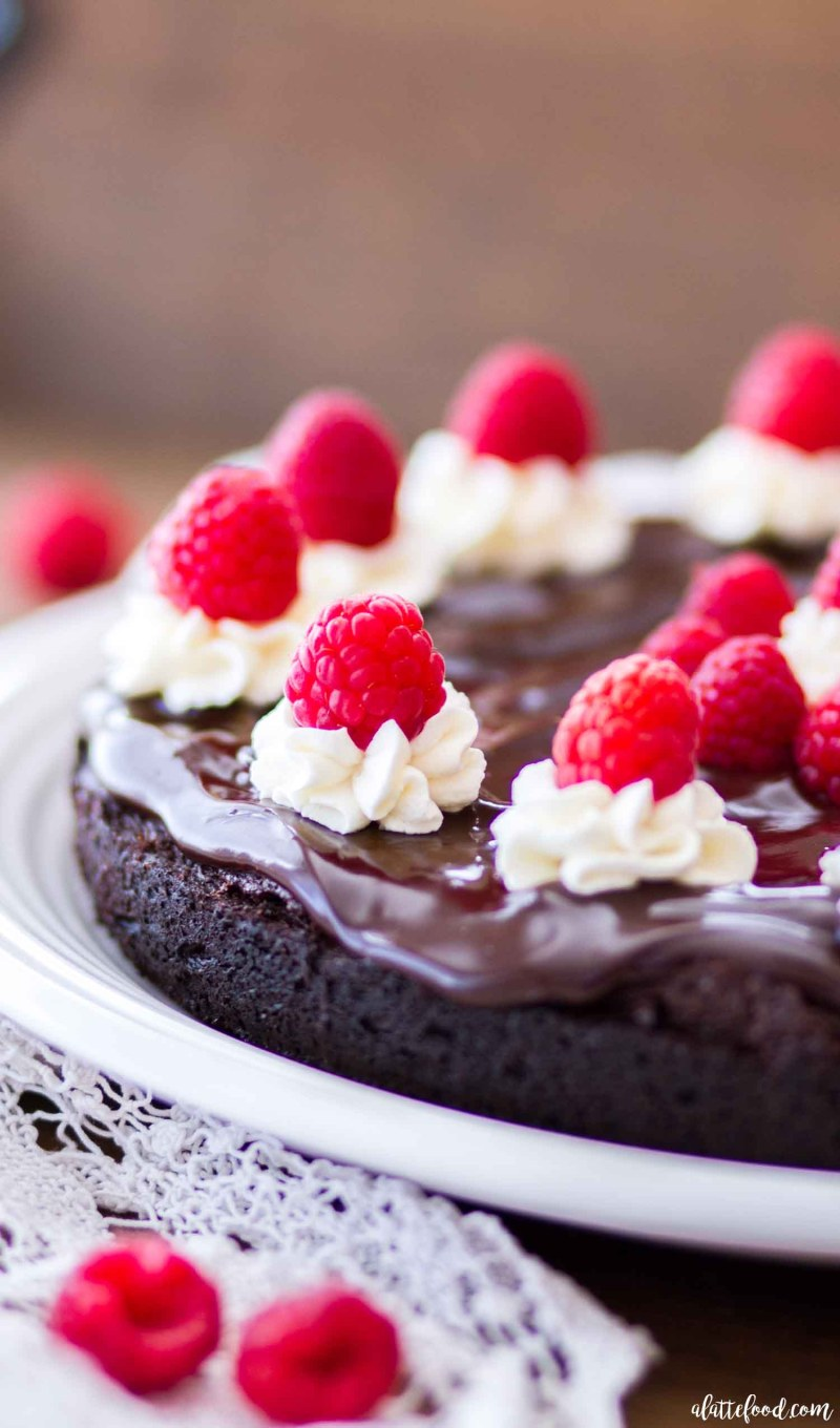 chocolate ganache topped flourless chocolate cake