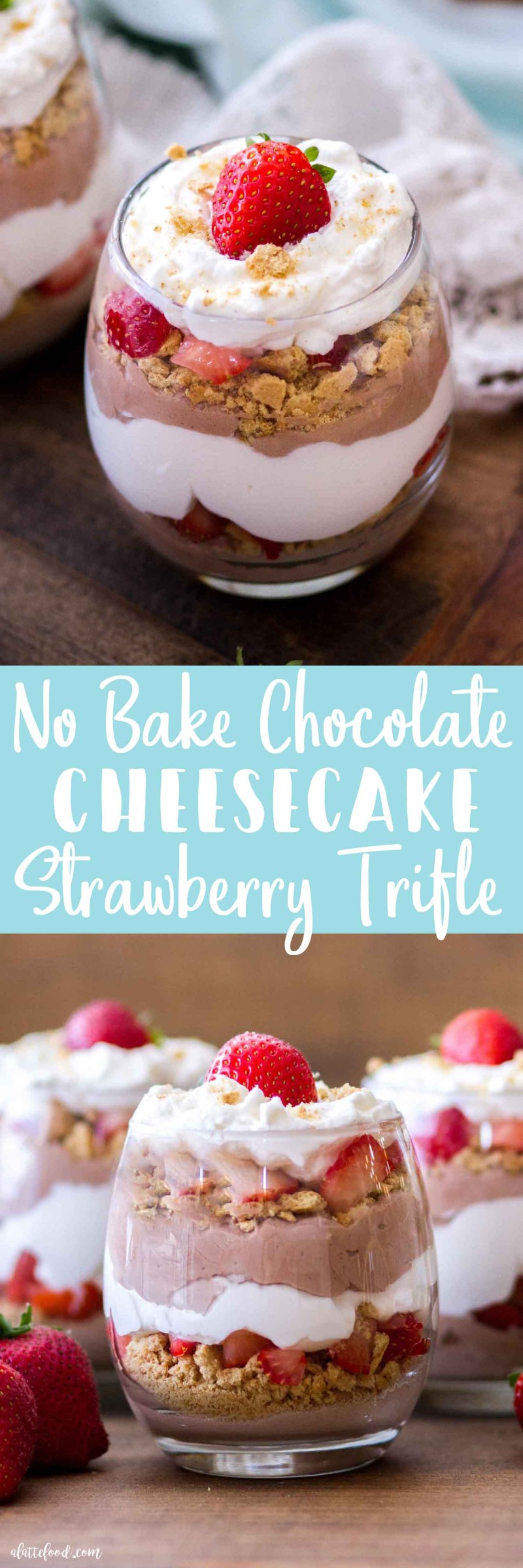 This easy no bake chocolate cheesecake recipe is layered with fresh strawberries, homemade whipped cream, and crushed graham crackers. This pretty little chocolate strawberry cheesecake trifle is so simple to make, incredibly rich, and a sweet Valentine's Day dessert! Of course, if you're like me, you'd eat this No Bake Chocolate Cheesecake Strawberry Trifle for dessert all year long. Plus, a video down below!