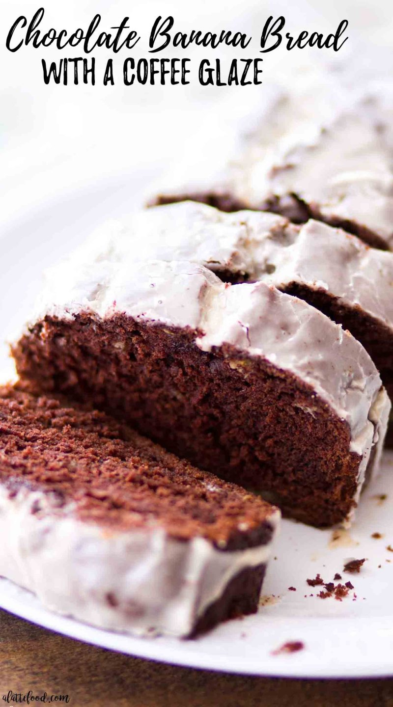Chocolate banana bread with homemade coffee glaze