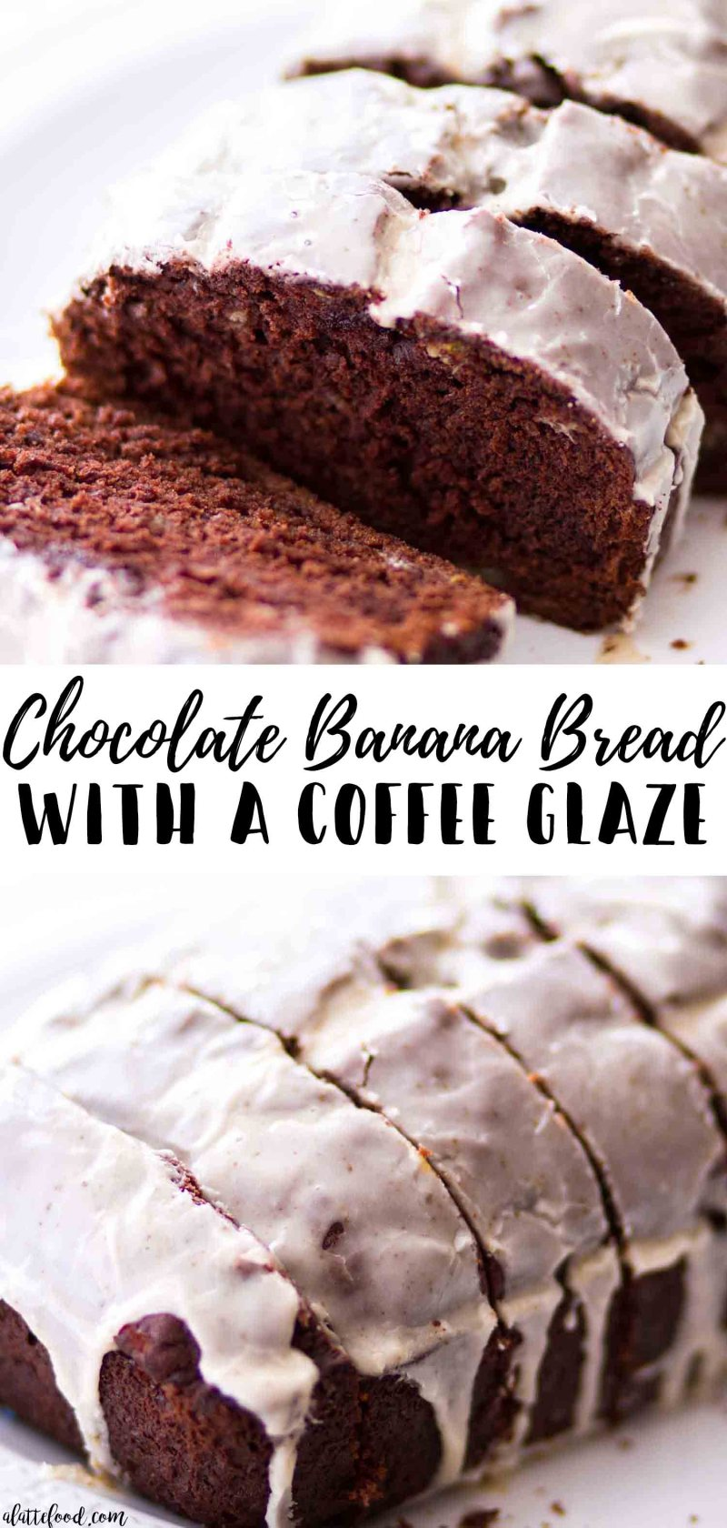 Easy chocolate banana bread with a coffee glaze