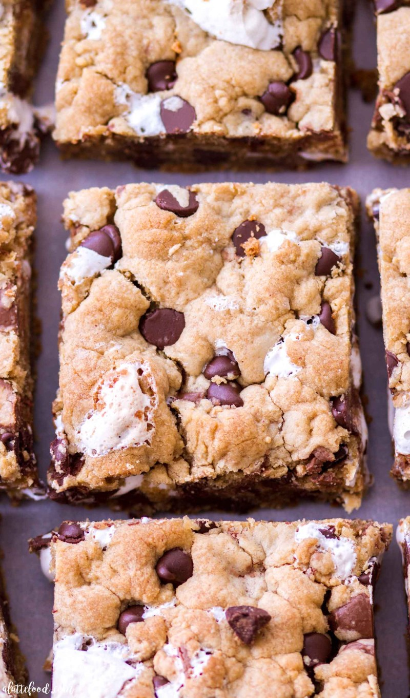 chocolate chip peanut butter cookie bars stuffed with marshmallows