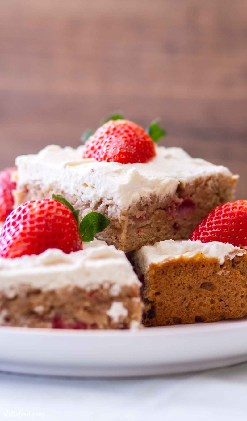stack of strawberry blondies
