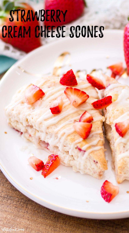 easy strawberry scone recipe on polka dot plate