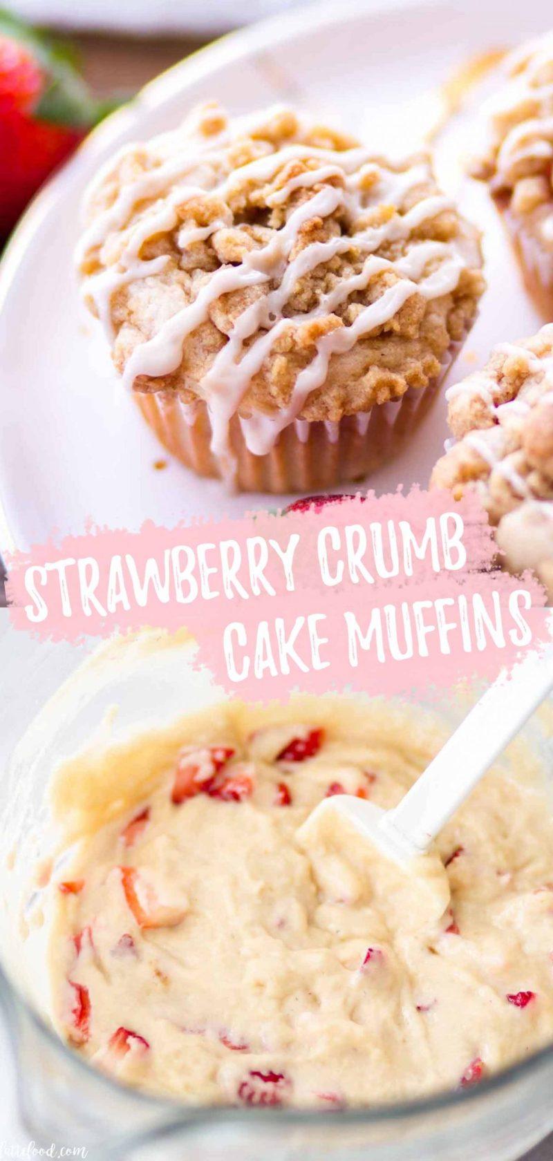 strawberry crumb cake muffins with vanilla glaze collage