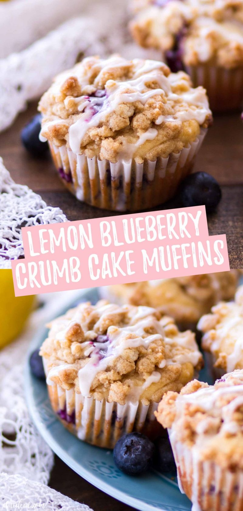 easy lemon blueberry crumb cake muffins collage