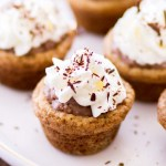Graham Cracker Cookie Cups filled with chocolate cream cheese and whipped cream