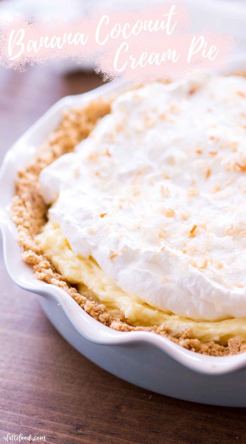 coconut banana cream pie with whipped cream