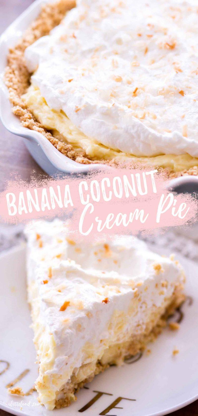 easy banana coconut cream pie collage