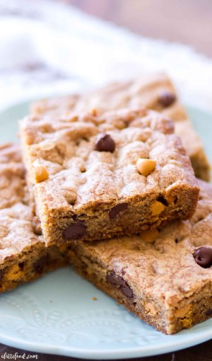 plate of baked butterscotch cookie bars