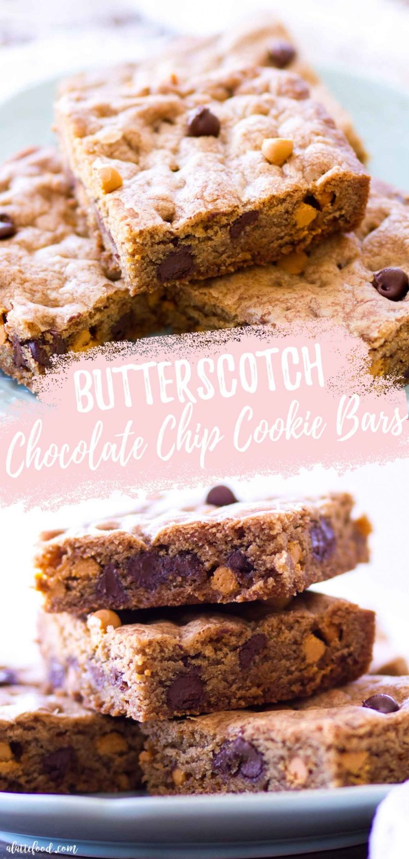 chocolate chip butterscotch cookie bars collage with text