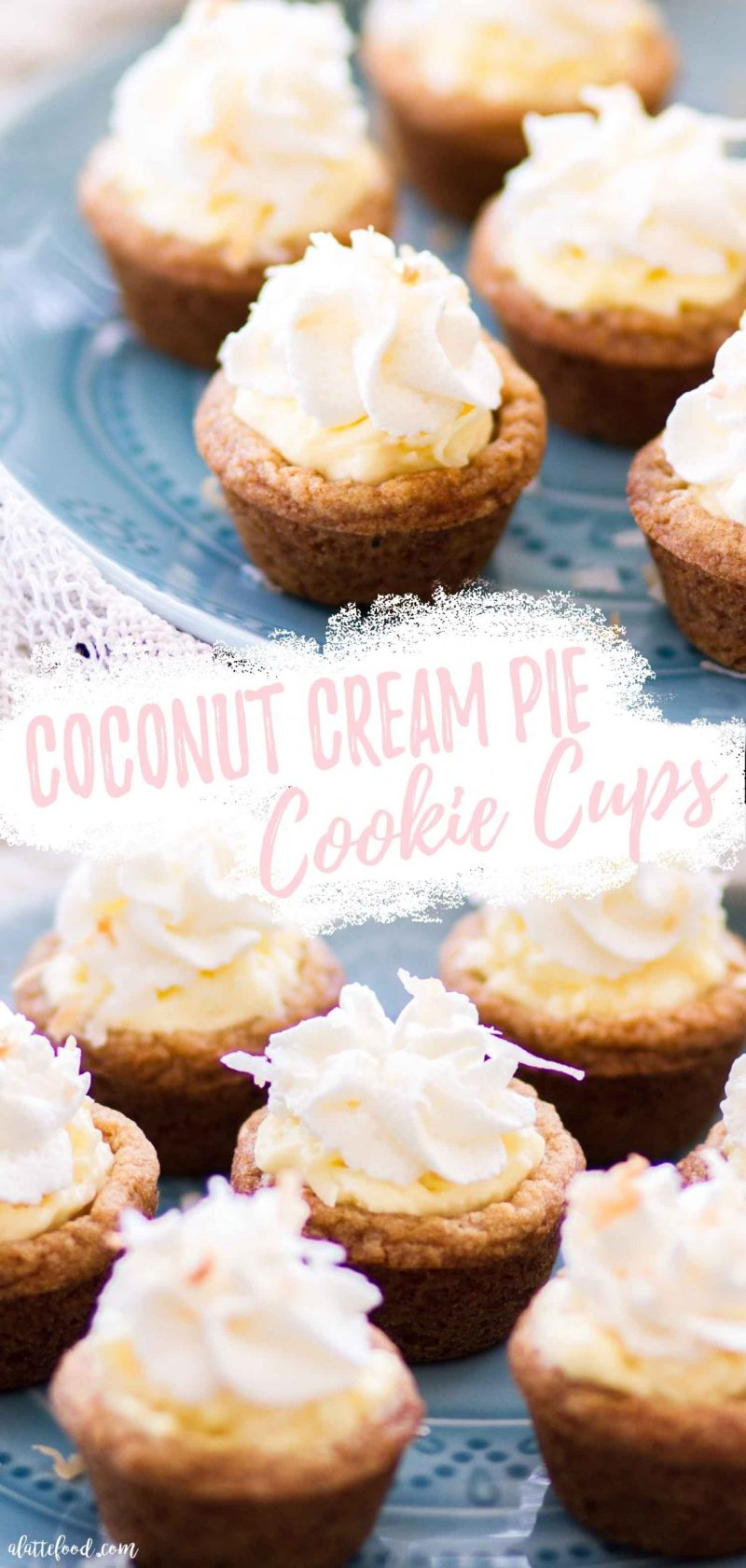 easy coconut cream pie cookie cups on blue dessert plate collage