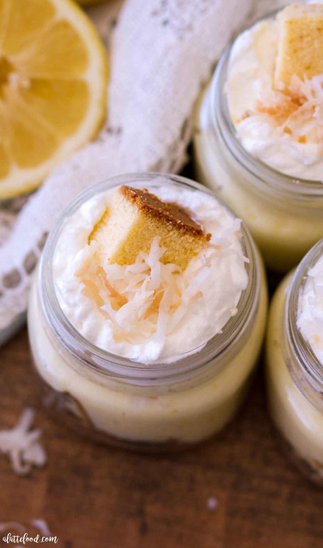jars of no bake coconut lemon trifles