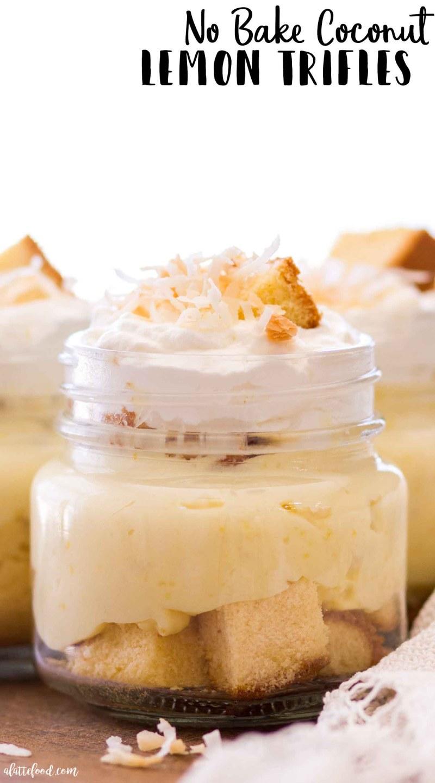 No Bake Coconut Lemon Trifle recipe in a jar