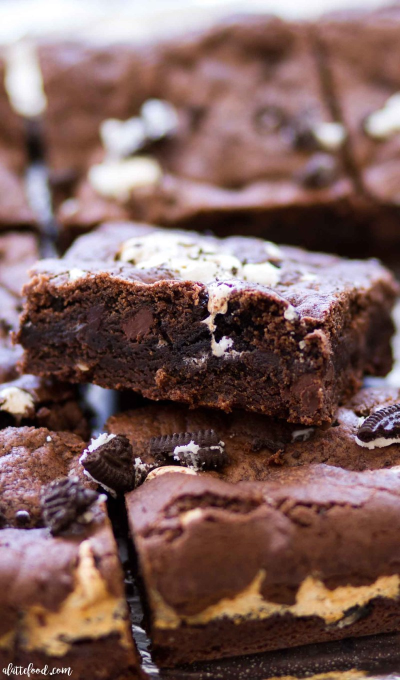 Marshmallow Oreo Chocolate Chip Cookie Bars side view