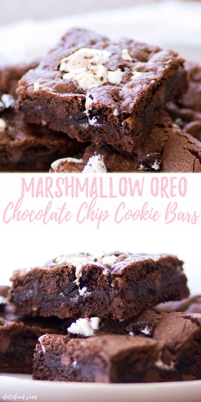 Marshmallow Oreo Chocolate Chip Cookie Bars collage photo with text