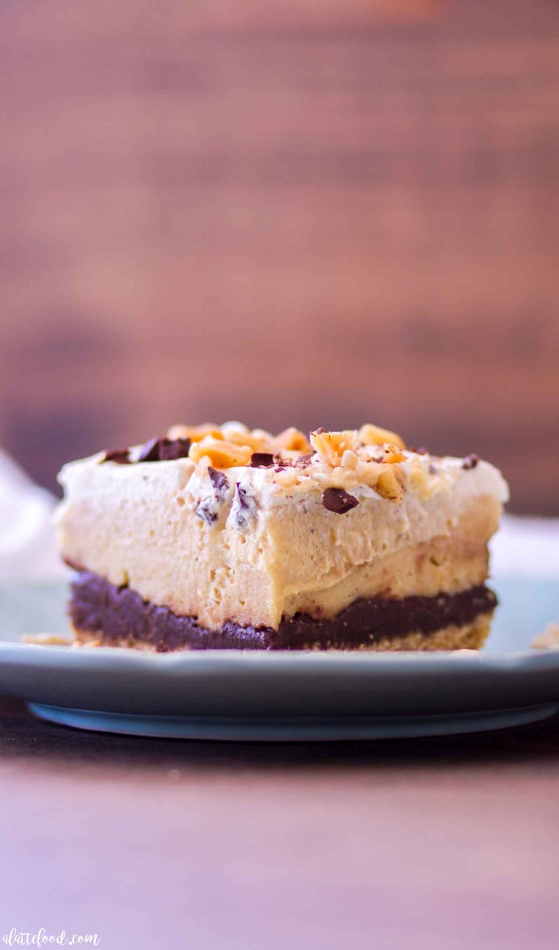no bake chocolate peanut butter pie bars side view