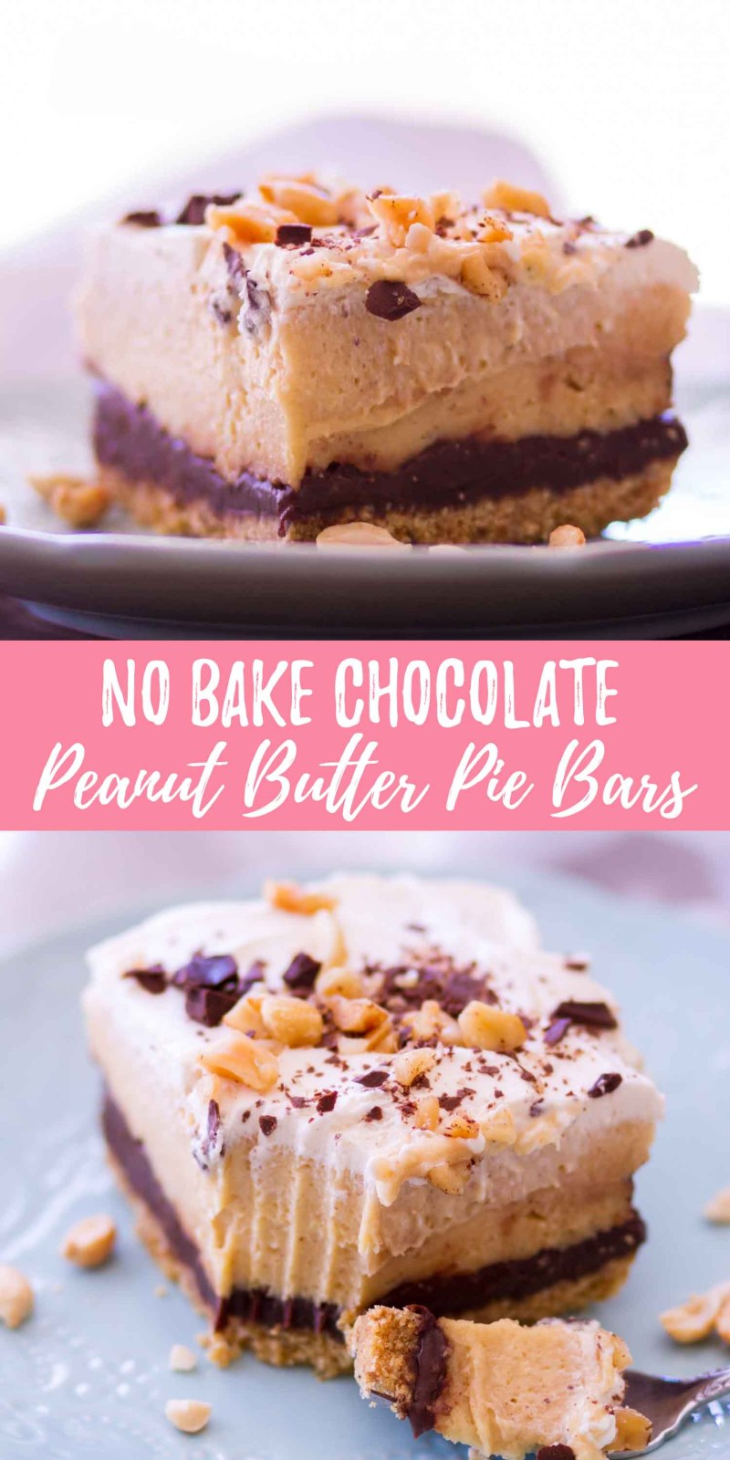 These no bake chocolate peanut butter pie bars are layers of graham cracker crumbs, homemade chocolate ganache, peanut butter cream filling, and homemade whipped cream on top. Chocolate and peanut butter lovers, this one's for you!