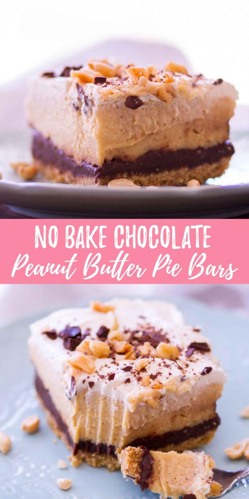 No Bake Chocolate Peanut Butter Pie Bars
